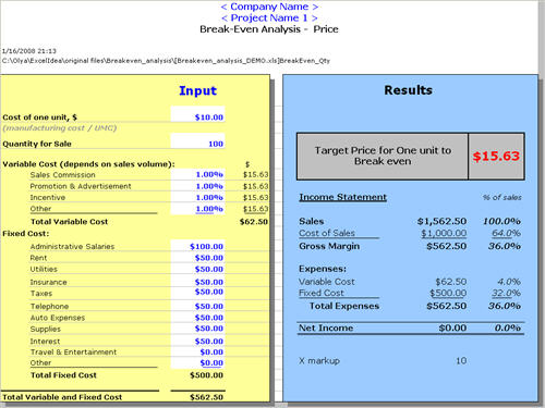 Break Even analysis template by ExcelIdea – Breakeven Template