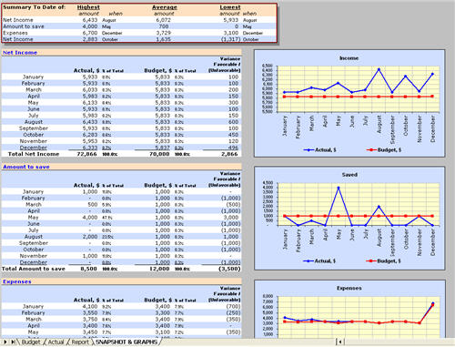 Household income and expenses management tool