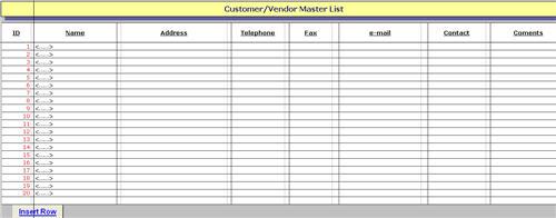 vendor list excel template