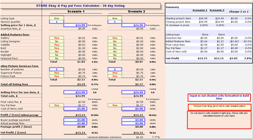 EBay and PayPal fees and profit Calculator