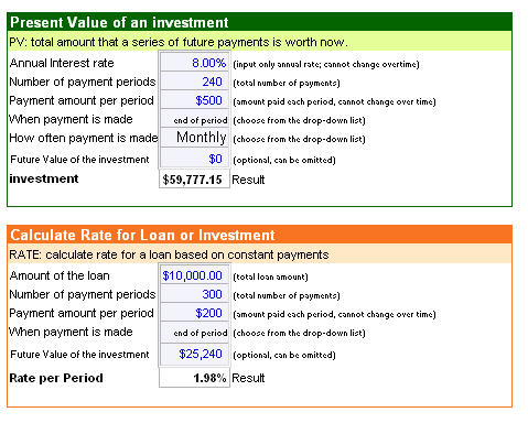 Loan Payment, Loan Interest, Future Value Of Investment Calculator